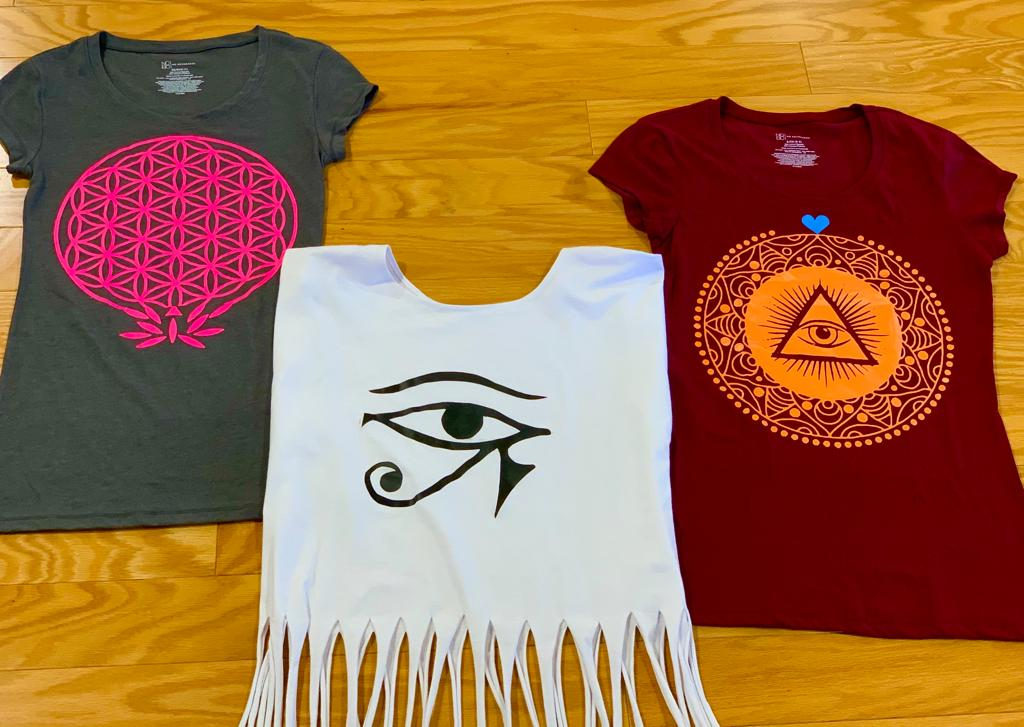 Crystal Garden t-shirts with sacred geometry